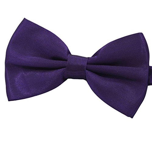 Amajiji Formal Dog Bow Ties for Medium & Large Dogs (D115 100% polyester) (Dark Purple)