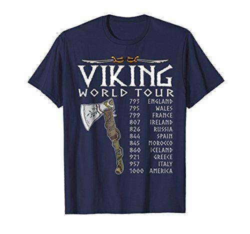 T-shirts Fine Design (Mens Viking World Tour T-Shirt - viking designs tshirt gift 2XL Navy)