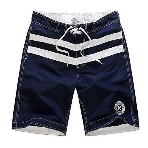 Scuro Asciugatura Pantaloni Corti Amlaiworld Pantaloncini Da Moda Uomo Blu Coulisse Patchwork Spiaggia Colore Casuale Sciolti 1 Rapida wgZBw