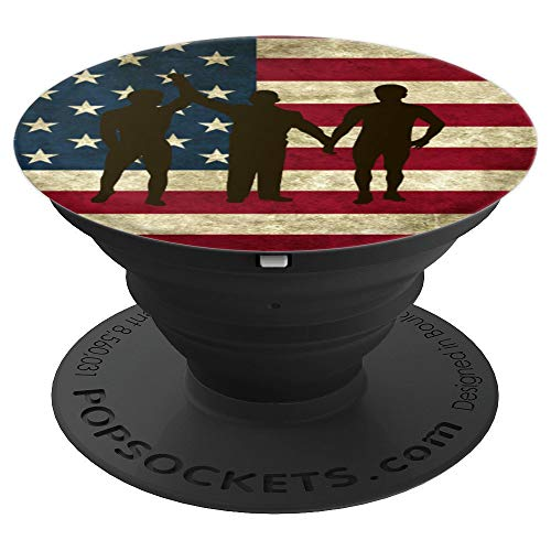 USA American Flag Wrestling Silhouette Gifts Male Wrestlers - PopSockets Grip and Stand for Phones and Tablets