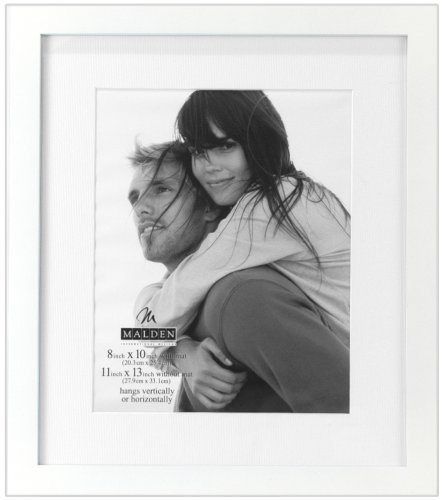 Malden International Designs Matted Linear Classic Wood Picture Frame, Holds 8x10 Photo, White by Malden International Designs