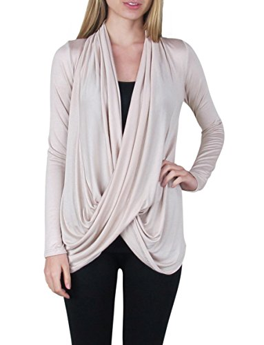 Free to Live Women's Lightweight Criss Cross Pullover Nursing Cardigan Top (Large, Khaki) (Cross Pullover)
