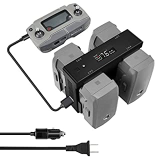 Hanatora Battery Home Charger & Car Charger for DJI Mavic 2 Zoom/Pro and Remote Controller,5 in 1 Rapid Charging Hub with Charging, Discharging and Storage