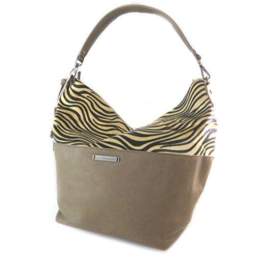Bolsa de diseñador 'Lulu Castagnette'de cebra de color topo - 45x32x20 cm.