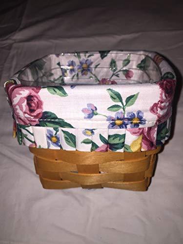 Longaberger 1997 Teaspoon Basket with Garden Splendor Liner and Plastic Protector