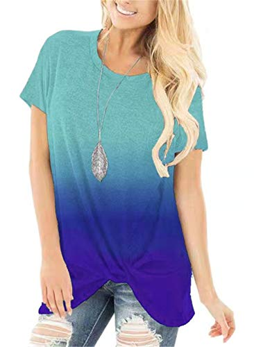 onlypuff Short Sleeve Tunic Tops for Women Blue Tie Dye Shirt Ombre Gardient Tunics Casual Loose Fit ()