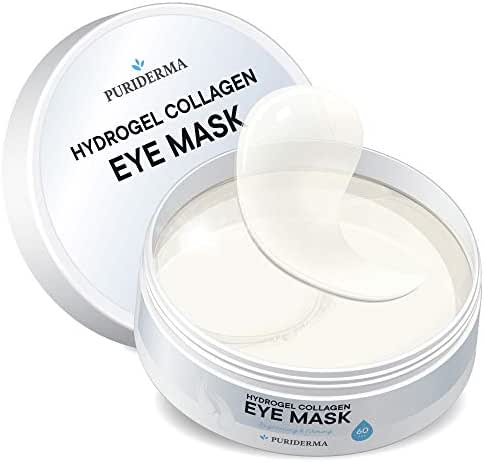 Hydrogel Collagen Eye Mask by Puriderma - Collagen Anti-Aging Under Eye Patches, Reduce Wrinkles, Fine Lines, Puffiness, Crow's Feet, Dark Circles