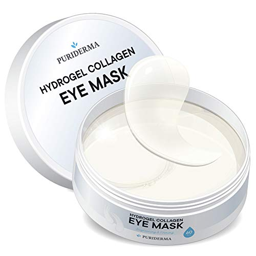 Hydrogel Collagen Eye Mask by Puriderma - Collagen Anti-Aging Under Eye Patches, Reduce Wrinkles, Fine Lines, Puffiness, Crow's Feet, Dark Circles (Best Product For Under Eye Lines)