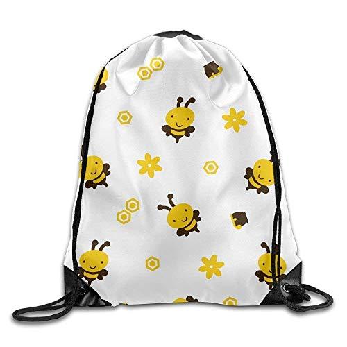 Ashley Lauren Mia Unique Gym Sack Bag Eco-Friendly Drawstring Backpack Sport Bag - (Cartoon Bees Flower - White),Easy To -