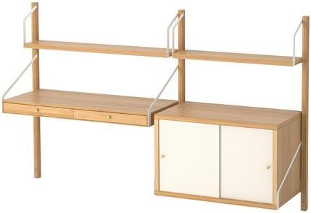 IKEA pared espacio de trabajo combinación, bambú, blanco tamaño 59 ...
