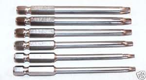 "NAREX BYSTRICE - Conjunto de puntas largas para destornillador tipo Torx, longitud: 90 mm, tamaños: T 10, T 15, T 20, T 25, T 27, T 30 - 6,35 mm (1/4"")"