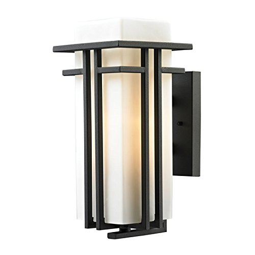 Elk Lighting 45086/1 Croftwell Collection 1 Light Outdoor Sconce, Textured Matte Black ()