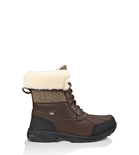 UGG Men's Butte Herringbone Snow Boot,Stout Leather/Herringbone Tweed,US 17 M