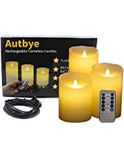 """Flameless Candles Electric with Rechargeable Battery - Autbye (2018 Advanced Edition) Extra Bright Ivory 3 Pack 4"""" 5"""" 6"""" Dripless Real Wax Pillars LED Smart Candle Flickering with 10-Key Remote Control"""