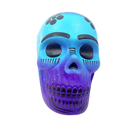 HANYI Stress Relief Toys For Kids With Adhd, Squeeze-Therapy-Sensory-Squishy-Educational (Galaxy Skull Blue)