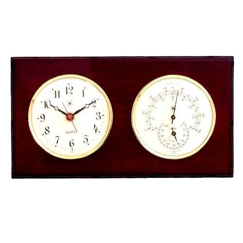 Bey-Berk International Brass Clock, Thermo./Hygro. on Mahogany T.P. by Bey-Berk