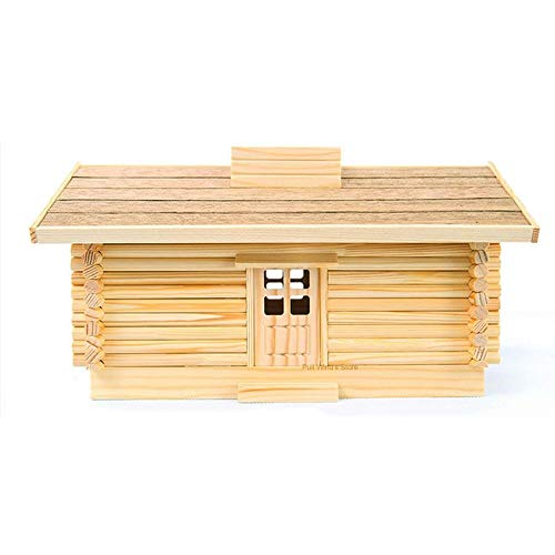 - Drhnjl Assembled Wood Tissue Box Log Cabin Tissue Boxes Table Decoration Model Assembled Wooden Paper Towel Holder