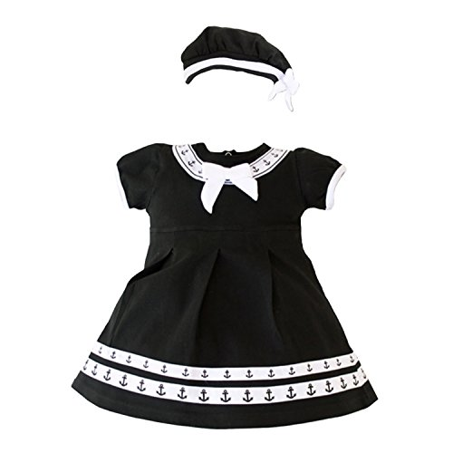 Trendy Apparel Shop Infant 2 Piece Anchor Dress With Beret Cap - Black - 0-3 Months