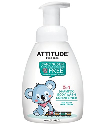 ATTITUDE 3 In 1 Foaming Shampoo, Body Wash and Conditioner, Pear Nectar, 10 Fluid Ounce