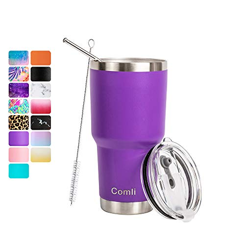 Comli 30oz Purple Tumbler Stainless Steel Double Wall Vacuum Insulated Travel Mug With Lid and Straw, Cleaning Brush (Tumblers Purple)