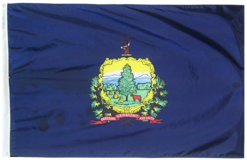 Vermont State Flag 3x5 ft. Nylon SolarGuard Nyl-Glo 100% Made in USA to Official State Design Specifications by Annin Flagmakers.  Model 145460 (Weather In Vermont Usa)