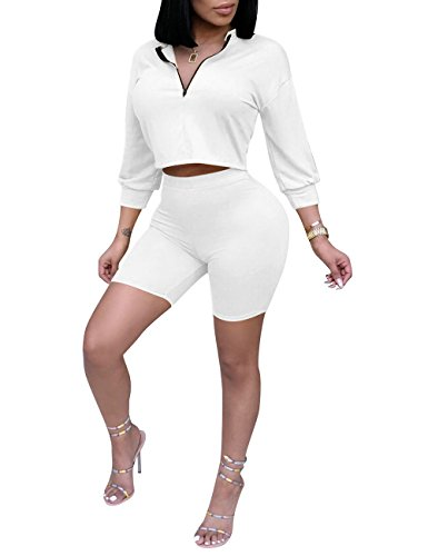 7ee88f5b34 Subtle Flavor Womens Casual 2 Piece Outfits 3 4 Sleeve Crop Tops and Bodycon  Shorts