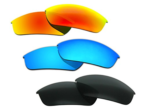 3 Pairs Polarized Replacement Sunglasses Lenses for Oakley Flak Jacket with Excellent UV ()