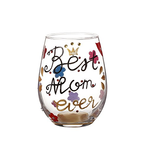 V-More Hand-Painted Best Mom Ever Stemless Wine Glass Decorated Rhinestones Mother's Day Birthday Gift Anniversary 18 oz (Set of 1)