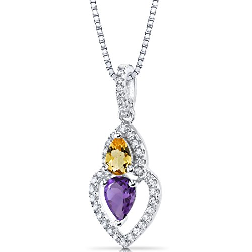 Amethyst and Citrine Pendant Necklace Sterling Silver Pear Shape 0.75 Carats Total