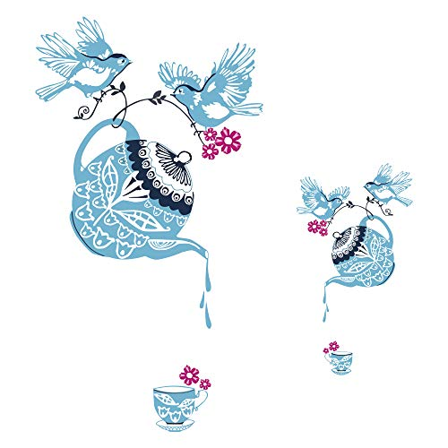 decalmile Light Blue Teapot Cups Decal Stickers Bird Wall Stickers Paper-Cut Style Removable Wall Decor for Kitchen Dining Room Living Room