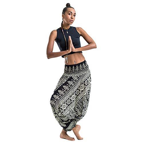 YANG-YI Harem Slacks Wide Leg Pants Baggy Loose Yoga Trousers Thai Style  Casual Fitness 7d2cd95ef21