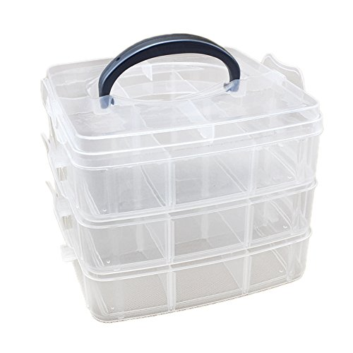 Gosear 18 Grids Removable Makeup Jewelry Plastic Organizer Holder Storage Case Boxes Container for Toys Pills Beads Crafts Earrings Accessories by Gosear
