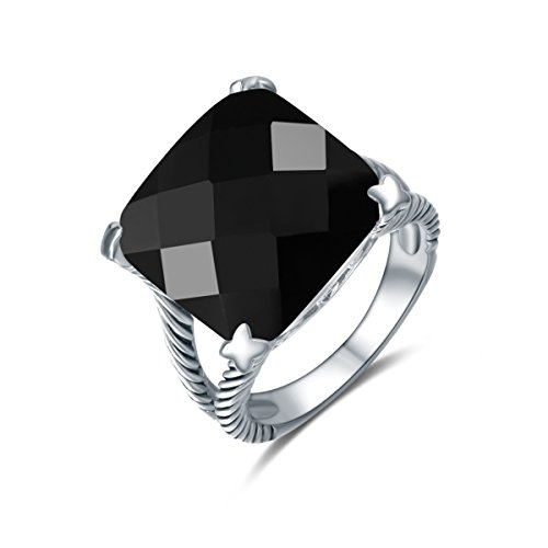 Quiges Vintage Cocktail Mother Silver Classic Twisted Cable Promise Ring with Black Radiant Cut Gemstone 18
