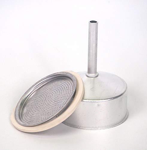 Sanfor Repuesto Cafetera Italiana 6 Tazas   Recambio Embudo + Filtro + Junta   Aluminio Caucho   Diámetro 64 mm