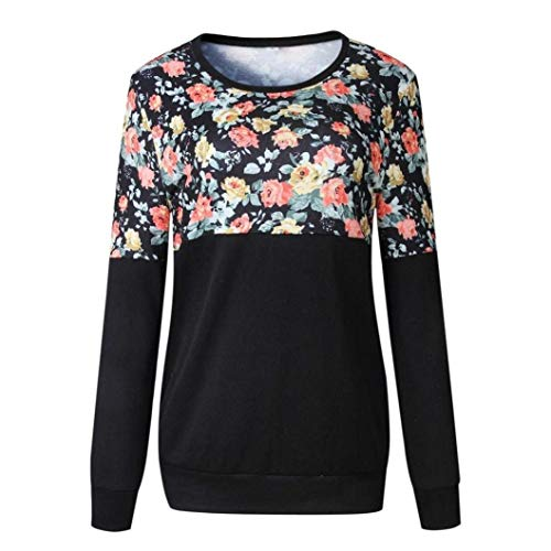 Femmes Imprimé Automne Vêtements Tops Sweat Rond Schwarz Col Longue Pull Floral shirt Décontracté Manche Basique T gq4xAEwc