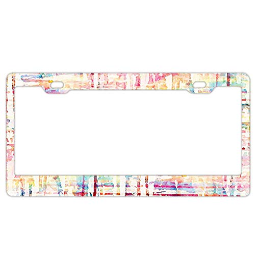 Hizhongmen Personality License Plate Abstract Distressed Grunge Paint with Manifold Complicated Mixed Figures and Lines Artsy Print Aluminum License Plate, Front License Plate, Vanity Tag