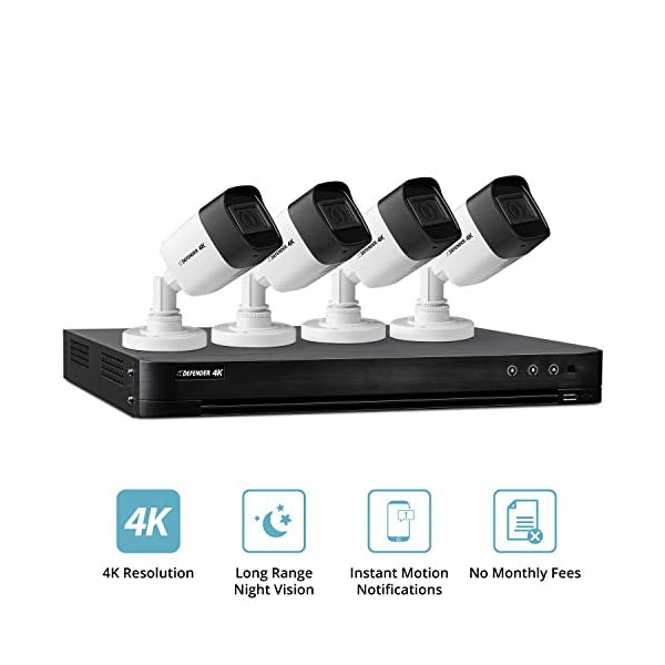 Defender Ultra HD 4K (8MP) DIY Wired Security System with Weather Resistant, Night Vision Cameras