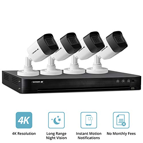 Defender Ultra HD 4K (8MP) DIY Wired Security System with 4 Weather Resistant, Night Vision Cameras, 1TB Hard Drive and Remote Mobile Viewing