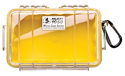 Waterproof Case | Pelican 1050 Micro Case - for iPhone, Cell Phone, GoPro, Camera, and More(Yellow/Clear) ()