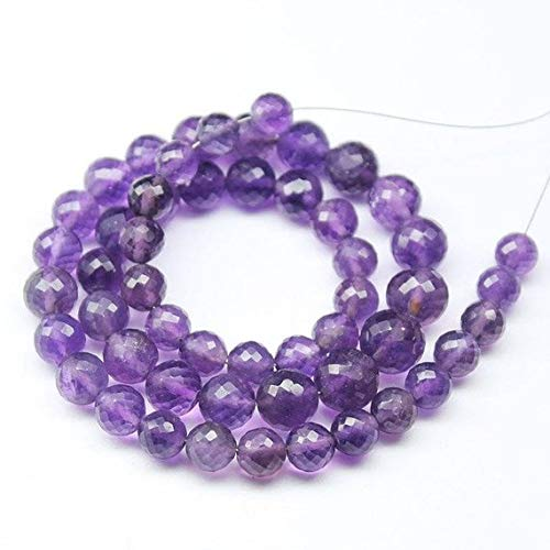 Beads Bazar Natural Beautiful jewellery Purple Africa Amethyst Faceted Round Ball Gemstone Craft Loose Beads Strand 14