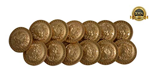 Set of 13 Premium Metal Lion with Greek Key Buttons 25mm, 1 Inch for Pea Coats, Overcoats, Winter Coats, Military/Army Coats, Blazers, Suit Jackets, Sport Coats - Military Garment Superior Style