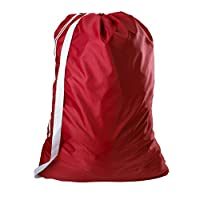 Carry Laundry Bag From Handy Laundry with Shoulder Strap Large Size 30 Inches X 40 Inches Commercial Grade 100% Nylon and Made in the USA - Designed for Heavy Duty Use - College Laundry Bag - Trips to Laundromat - Household Storage (Red)
