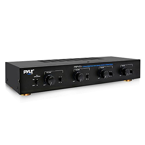 Premium New and Improved 4 Zone Channel Speaker Switch Selector Volume Control  Switch Box Hub Distribution Box for  Multi Channel High Powered  Amplifier Control 4 Pairs Of speakers - Pyle PSPVC4 ()
