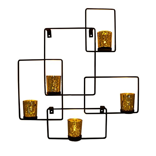 Large Unique New Age Geometric Shaped Design 5Pc Votive Metal Wall Sconce Candle Holder W  Antique Washed Style