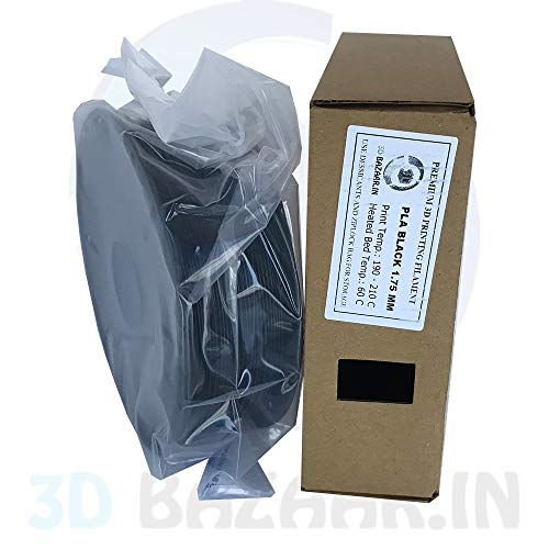 3D Bazaar PLA 3D Filament 1.75 mm (Black, 1 kg)