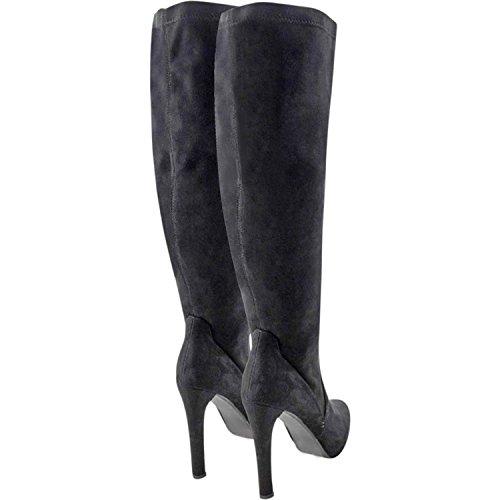 Luxury Divas Knee High Heel Womens Suede-Like Boots Black xaiGBU4jOu