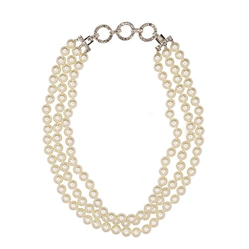 HamptonGems KENNETH JAY LANE, VINTAGE 3 ROW 10MM WHITE PEARL & DECO PAVE CRYSTAL CHAIN (Jay Lane Vintage Kenneth)