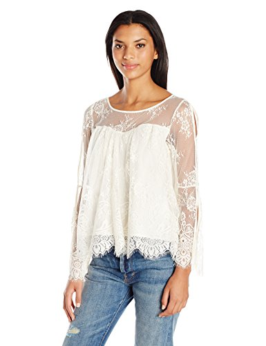 Taylor-and-Sage-Womens-Allover-Lace-Cold-Shoulder-Top