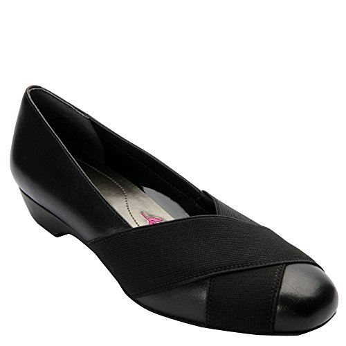 Ros Hommerson Women's Tammy Low Heel Dress Pumps, Black Leather, 10 W -