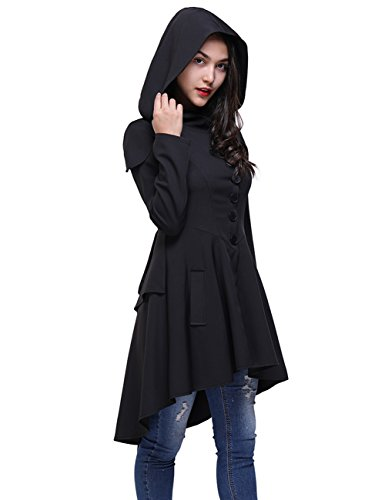 Hooded Vintage Coat (Fancyqube Women's Vintage Single Breasted High Low Hem Lace Up Layered Hooded Coat Black M)